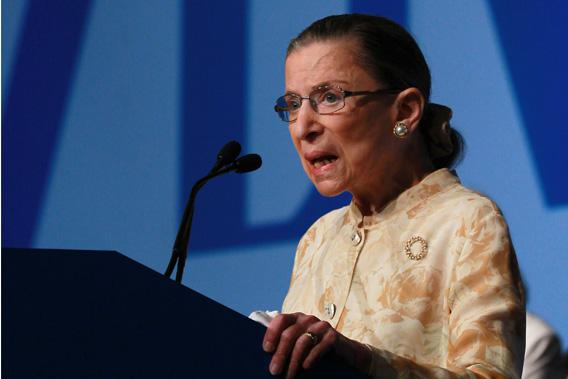 U.S. Supreme Court justice Ruth Bader Ginsburg speaks to delegates at the American Bar Association (ABA) House of Delegates.